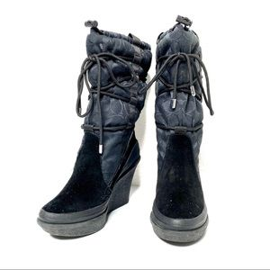 Coach Black Suede Wedge Winter 'Wynfled' Boot